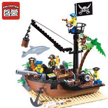 Buy ENLIGHTEN 306 Pirate Ship Scrap Dock Building Blocks Model Toys Compatible Legoe Children for $13.29 in AliExpress store