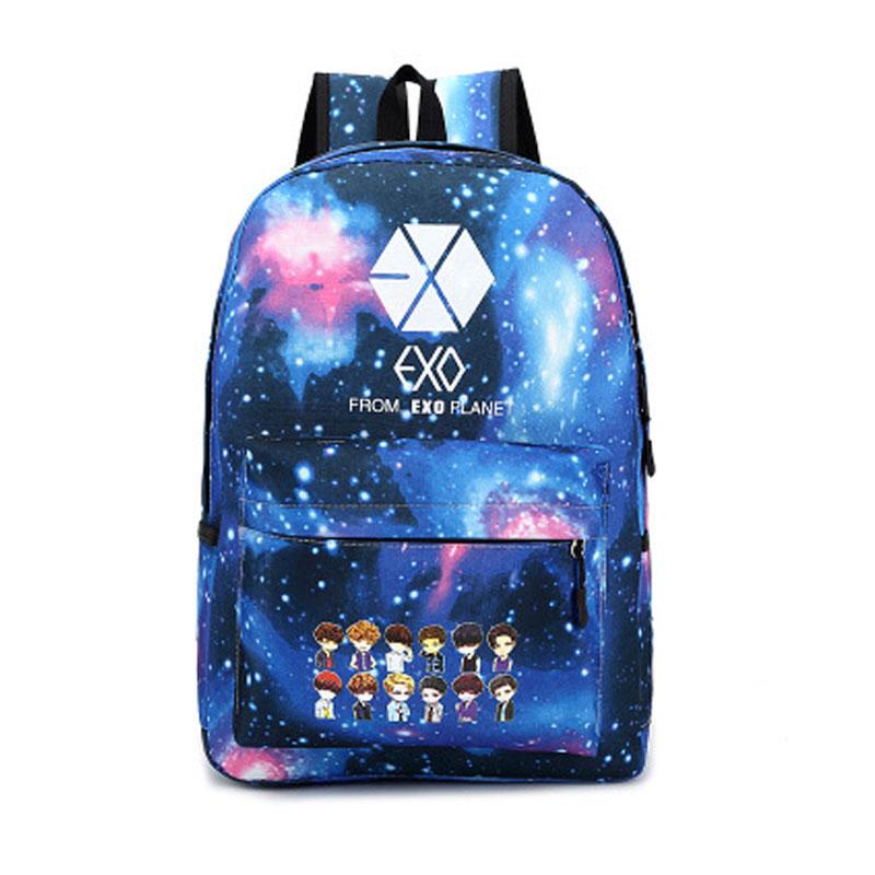 New 2015 Korean Women s Colorful Canvas Backpack Teenage Girls Fashion EXO Bags Harajuku Backpack Rucksacks