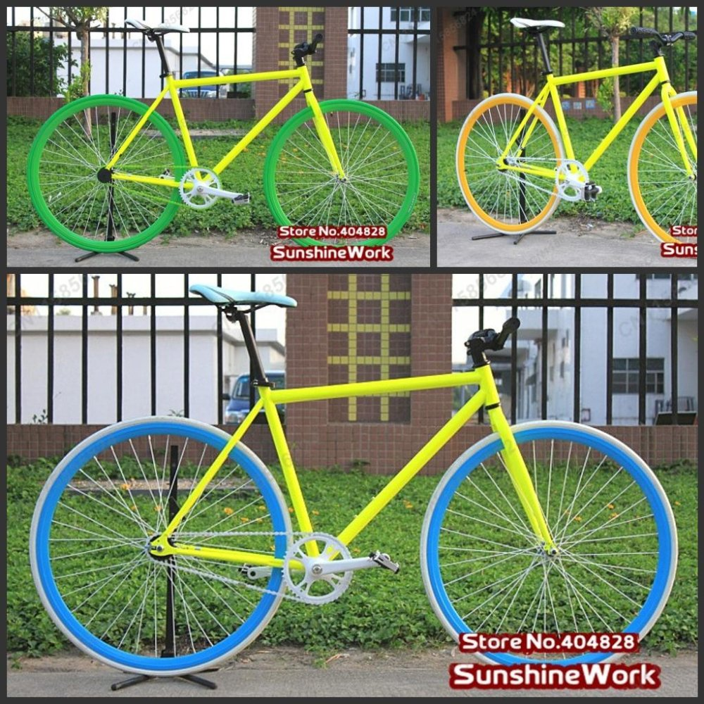 Fluorescent Yellow Frame( 50cm) + 4-Color Rim & Tyre (700X23C) FIXEE 2.0 Fixed Gear Bike,Single Speed Bike,Special Price !(China (Mainland))
