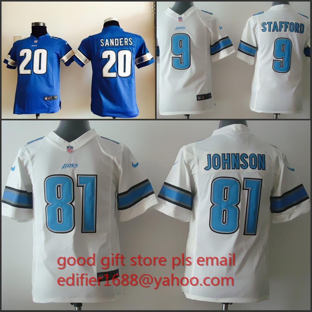 100% stitched youth Detroit Lions children 9 Matthew Stafford 20 Barry Sanders 81 Calvin Johnson Embroidery Logos size S to XL(China (Mainland))