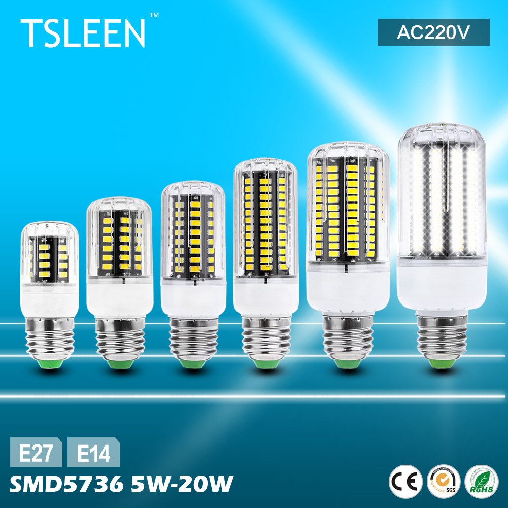 TSLEEN High Lumens E27 E14 5736 SMD LED Corn Bulb Lamp AC220V Commercial Lights(China (Mainland))