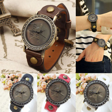 Wholesale Retro Paris Eiffel Tower Analog Round Dial Wrist Watch PU Leather Band Wristwatch for Men