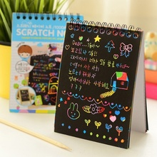 Wonderful Color Scratch Note Black Cardboard Creative DIY Draw Sketch Notes for Kids Toy Notebook School Supplies(China (Mainland))