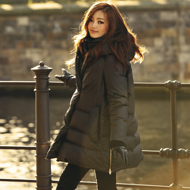 Europe style 2014 new winter women jacket coat loose A-Line cloak thick plus size medium-long parkas hooded outerwear RY468