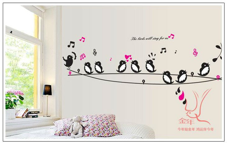 Swallow music princess cartoon baby room decor removable for Diy room decor quotes