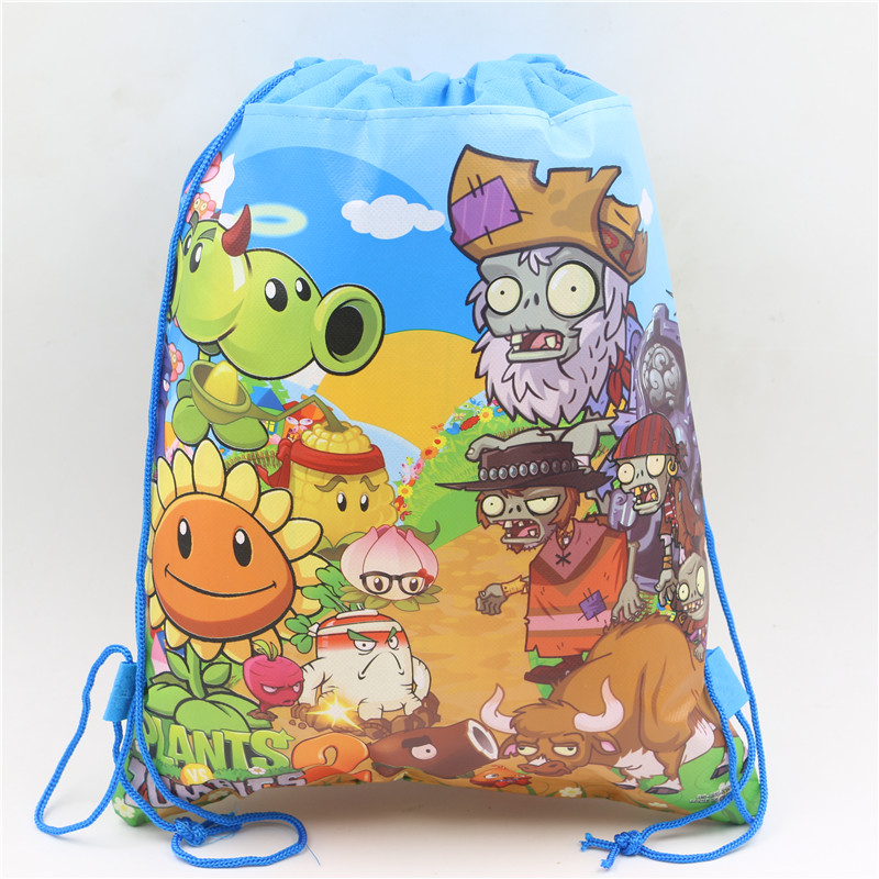 Plants vs Zombies Theme Drawstring Bags Kids Favors Non-Woven Fabric Backpack Baby Shower Birthday Party Decoration Supplies