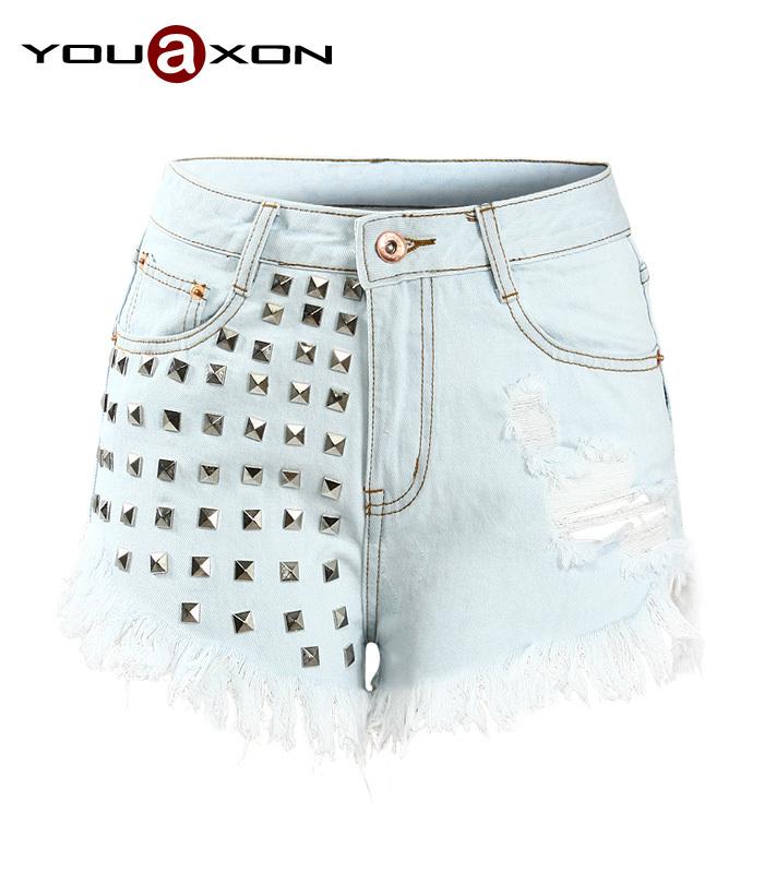 1805 YouAxon HOT Plus Size Womens 5 Pockets High Waist Punk Rivets Tassel Woman Sexy Ripped Denim Short Jeans Shorts For Women(China (Mainland))