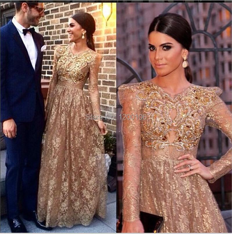 Gold Long Sleeve Dresses For Women
