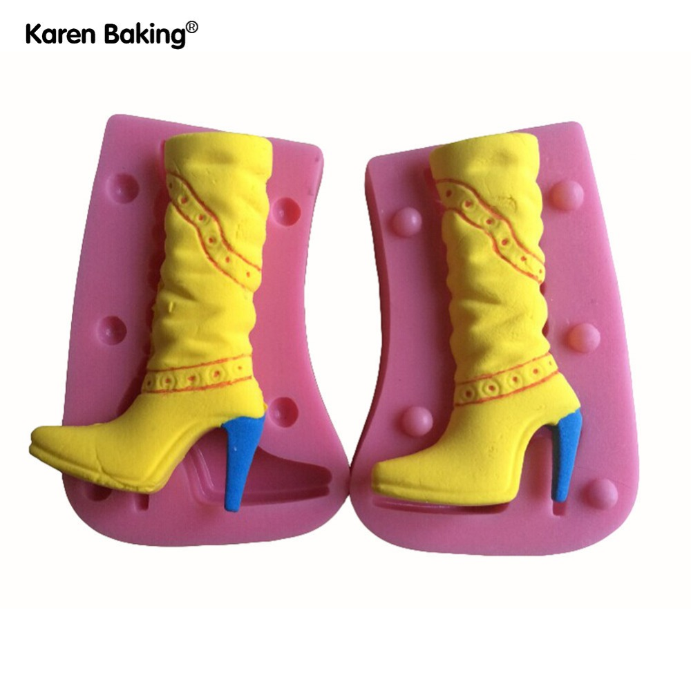 Two Pieces Fashion High-heeled Shoes Shape Silicone 3D Mold Cookware Dining Bar Non-Stick Cake Decorating Fondant Soap Mold--231(China (Mainland))