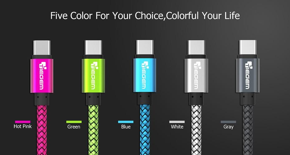 TIEGEM Original  USB 3.1 USB Type C Cable Nylon Line and Metal Plug Type-C USB for Xiaomi 4C / Leshi / Nokia N1 / ZUK-ZE etc