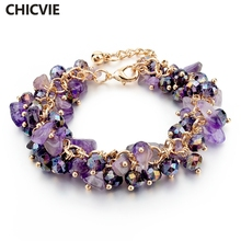 CHICVIE Purple Amethyst Crystal Charm Bracelets & Bangles With Stones Gold plated Bracelet Femme For Women Jewelry SBR140192(China (Mainland))