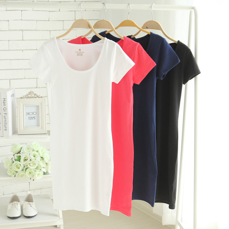 Brief Solid Women Cotton Long T shirt Dresses, Short Sleeve, Candy color, Basic Tops, Must-have item, Navy blue, White, Red, XL(China (Mainland))