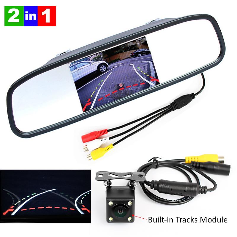 "4.3"" inch Digital TFT LCD Mirror Car Parking Rear View Monitor+Car Parking Camera with Backing Trajectory Rear Camera(China (Mainland))"