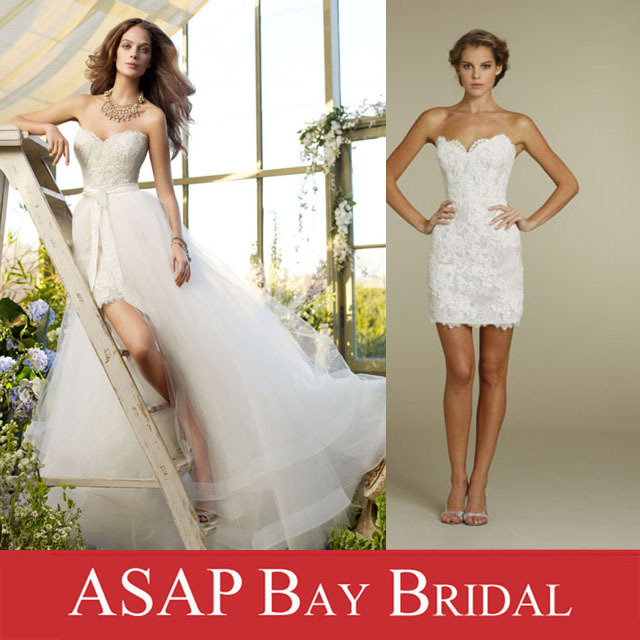 Free shipping detachable wedding dress two in one short for Short wedding dress with removable train