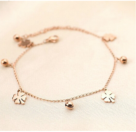 Clover small bell anklets female fashion titanium steel plated 18K rose gold platedanklets 1pc - Eileen's Jewelry Store store