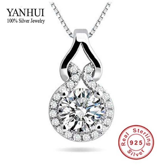 Promotion!!! Fashion 925 Silver CZ Diamond Pendant Necklace Women Silver Jewelry Necklace Sterling Silver Charm Necklace BKN002