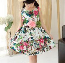 Vestido de niña de verano impresión de la muchacha del vestido de cáñamo vestido floral de las muchachas con la flor sin mangas niños ropa infantil ocasionales del cabrito(China (Mainland))