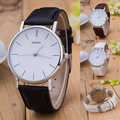 Luxury Geneve Silver Stainless Steel Round Dial PU Leather Quartz Business Dress Wrist Watch Wristwatches Gift