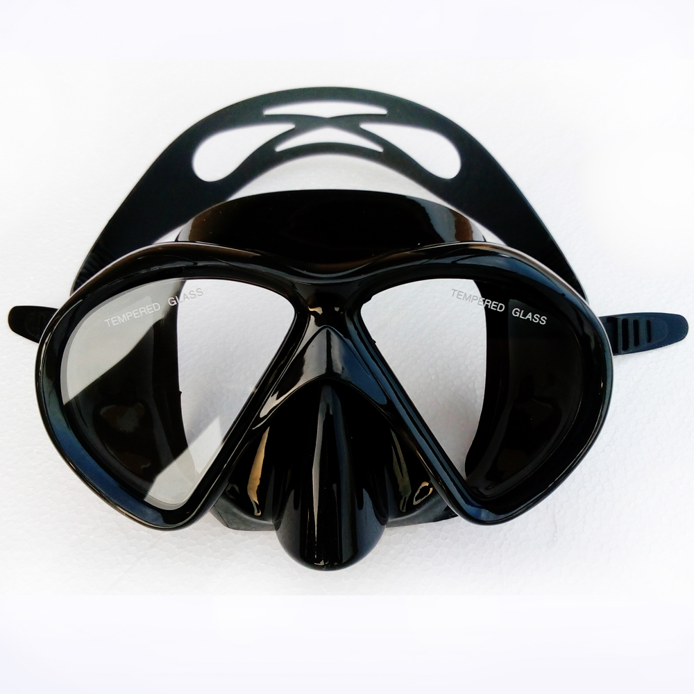 Black Scuba and Snorkel Diving Mask Tempered glass lens Twin lens Silicone Adult diving mask Hot summer watersport dive gears(China (Mainland))