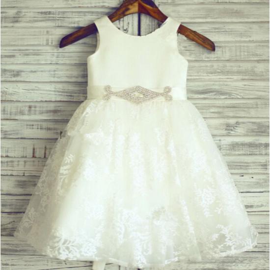 2016 новые детские платья пояса-line белый / слоновая кость бал ну вечеринку театрализованное ...