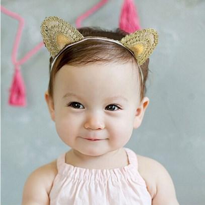New Arrival Baby knitted Cat Ear Gold Headband Girls Hair Band New Head Wrape Infant Hair Accessories Princess Cartoon Headband(China (Mainland))