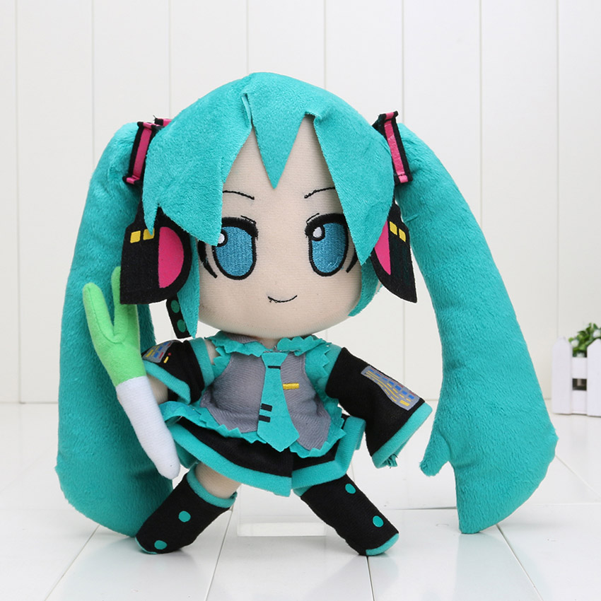 Hatsune Miku VOCALOID series of Japanese anime plush toys dolls 24CM smile Hatsune Miku 5pcs/lot(China (Mainland))