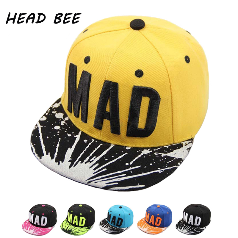 [HEAD BEE] 2017 Trend Hat Snapback Bone Children Embroidery MAD Letter Baseball Caps Kid Boys And Girls Flat Hip Hop Cap(China (Mainland))