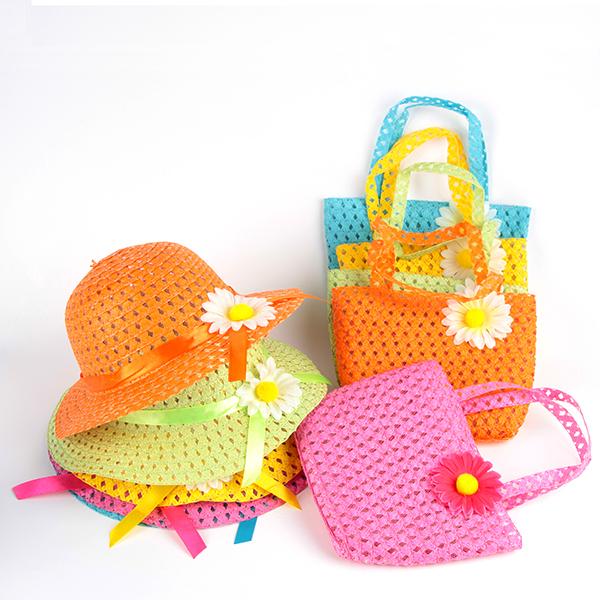 Summer Fashion Girls Kids Hats Bags Flower Straw Hat Cap Tote Handbag Bag Suit(China (Mainland))