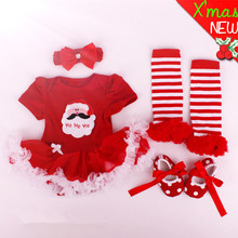 Christmas Gifts,Newborn Baby Costumes,Kids Romper Girls tutu Dress+Headband+Colorful Socks+Shoes Set,roupa bebe Toddler Clothes