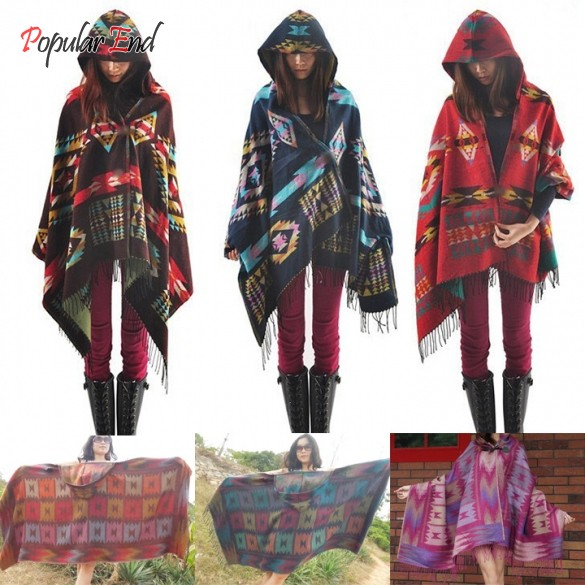 New Wool Cloak Poncho Cape Women's Autumn winter Outwear Wool Blend Ethnic style print Hooded Blanket Shawl Coat b4(China (Mainland))