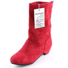 2018 herbst Winter Frauen Stiefel Mid-Waden Martin Stiefel Marke Mode Weibliche Stretch Baumwolle Stoff Slip-on Stiefel flache Schuhe Frau(China)