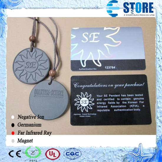 2 pcs/lot Se Pendant High Quantum Science Ion Energy Pedant with a Card and Gift Box Free shipping(China (Mainland))