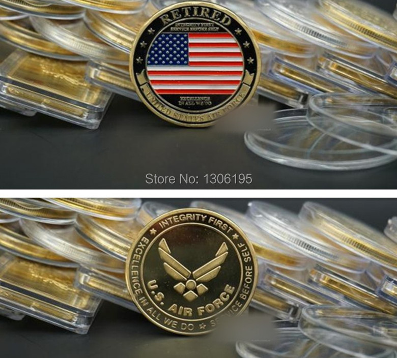 Retired Air force United States coins American 10pcs/lot gold plated gift products(China (Mainland))