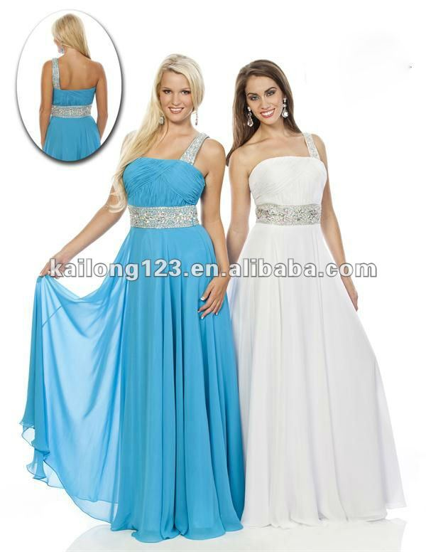 Grecian one shoulder a line long turquoise white ruched for White and turquoise wedding dresses
