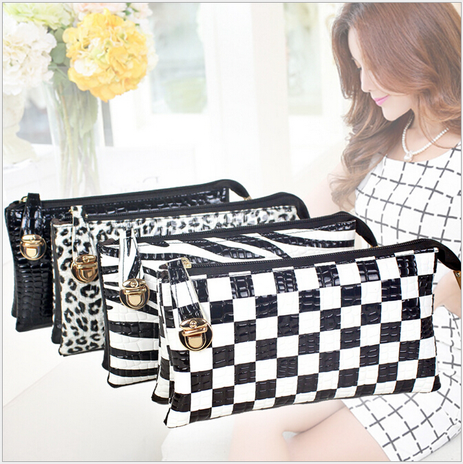 Hot Lady Crocodile Skin Bags Envelope Bag Fashion Girl Small Clutches Bags Zebra Plaid Handbags Woman Leopard Messenger Bag H212(China (Mainland))