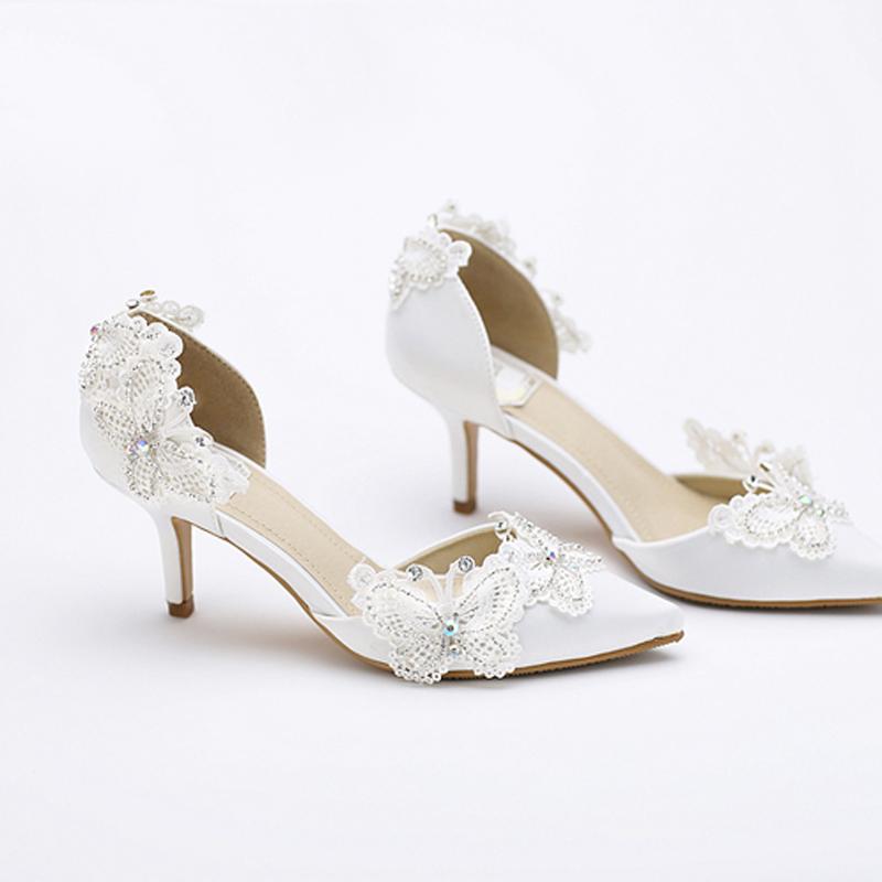 Kitten Heel Pointed Toe Bridal Shoes Women White Satin Pumps Butterfly Rhinestone Wedding Party