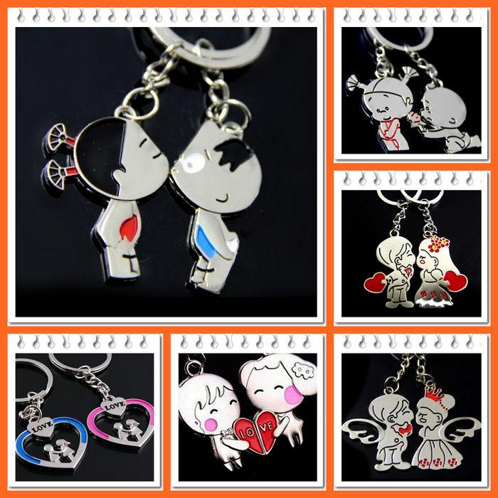 2015 Novelty Items Chaveiro Couple Keychain Cartoon Key chain Lovers Key Ring Llaveros Women Jewelry Accessory Valentines Gift(China (Mainland))