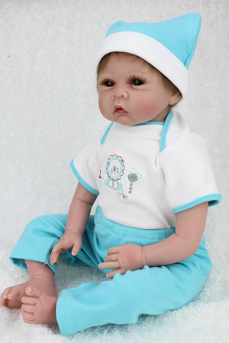 22 inch Reborn baby silicone vinyl dolls handmade realistic lovely baby gift  toy brinquedos
