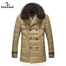 Down Coat SHAN BAO brand men's business casual clothing with fur collar 2016 winter high quality luxury plaid lining Parka(China (Mainland))