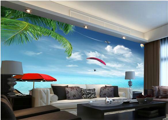 Wallpaper ocean beach scenery backdrop beach mural for Beach wall mural decals