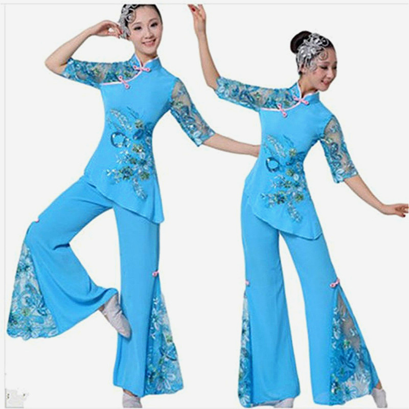 Costume chinese Cheap Discount Women Ladies Ancient Chinese National Costume Traditional Chinese Dance red and blue tj53(China (Mainland))