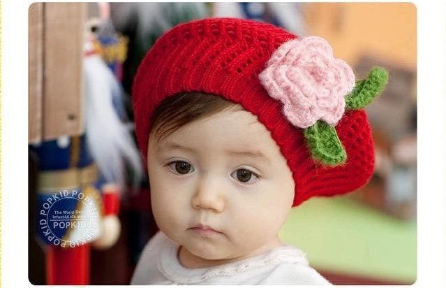 1PCS Cute Handmade Crochet Hat Baby Berets With Flower,Infant Wool Knitted Hats,Kids Beanie Baby Cap,Chidren Winter Hats(China (Mainland))