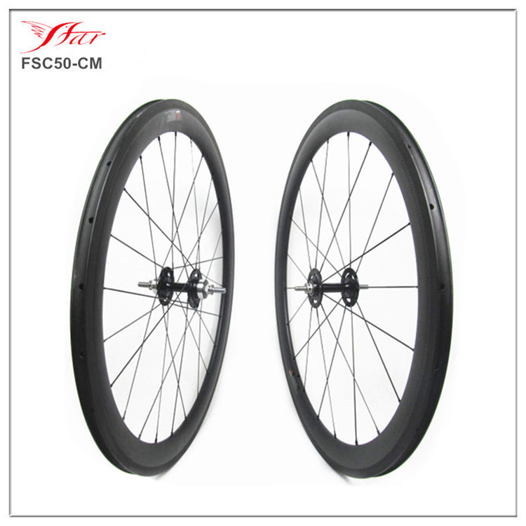 FSC50-CM-New bike wheelset, 50mm clincher track carbon wheels, carbon fixed gear bike wheel(China (Mainland))