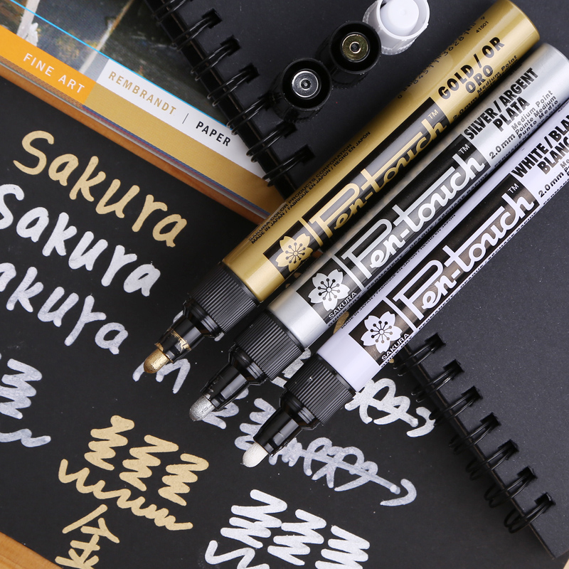 New hot sale Sakura paint pen high light pens 0.7mm 1.0mm 2.0mm gold silver white Whiteboard marker Painting cartoon supplies <br><br>Aliexpress