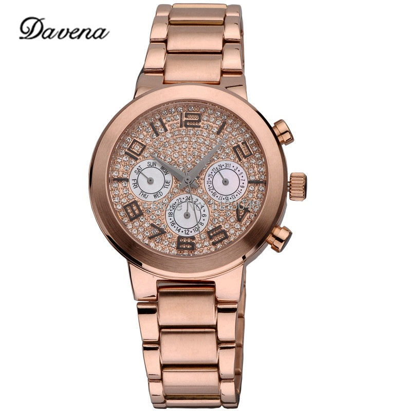 Здесь можно купить  2014 New Hot   Davena 60265 women dress watches  fashion  rhinestone watches stainless steel  wholesale Freeshipping  Ювелирные изделия и часы