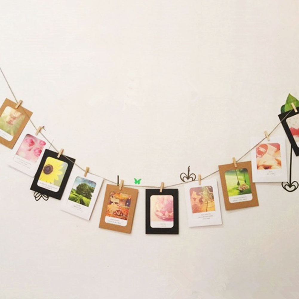 """Newest 7Pcs 7\"""" Paper Phote Film DIY Wall Picture Hanging Frame Album+Rope+Clip Set Home Decoration Random Color(China (Mainland))"""