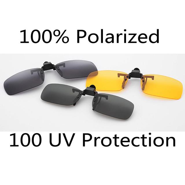 Поляризованные 3 цветов день объектива видения солнцезащитные очки клип для ночного ...