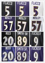 SexeMara Best quality jersey,Men's 5 Joe Flacco 9 Justin Tucker 57 C J Mosley 58 Elvis Dumervil 89 Smith Sr elite jerseys,Purple(China (Mainland))