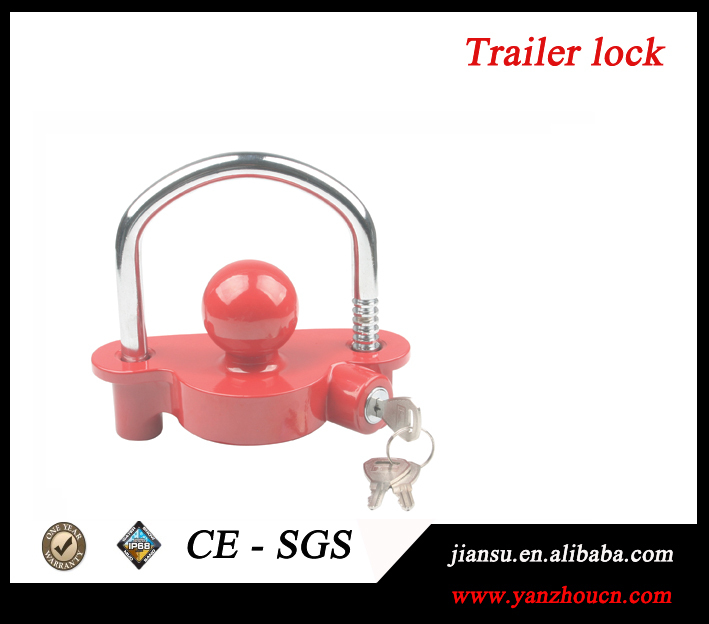 High quallity powder coated in color red mini trailer coupler ball towing lock(China (Mainland))