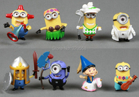 8pcs Lots Despicable Me 2 Figures Minions Cosplay Golf loose figure Good Collection